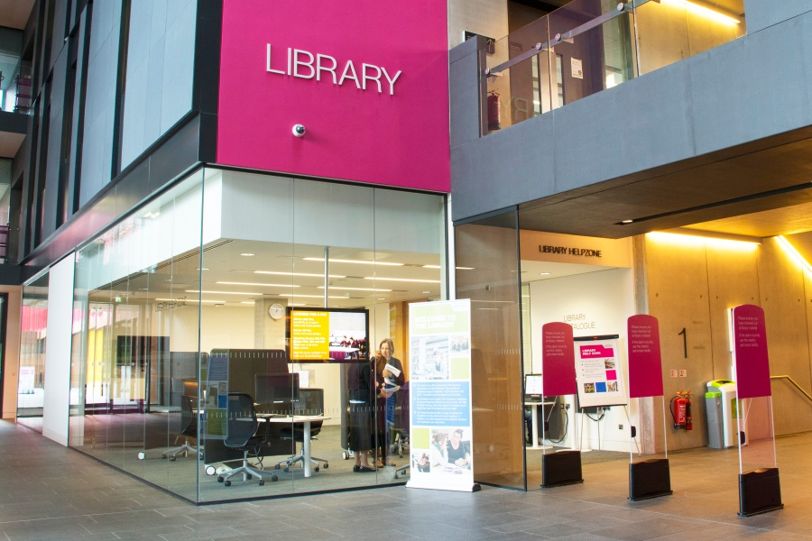 Photograph of the Library Help Zone, on Level 1 of the JHB Library